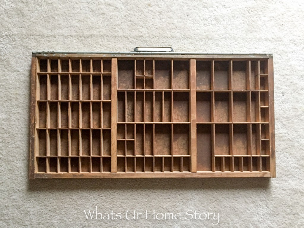 old printing tray or old typesetting tray -before makeover