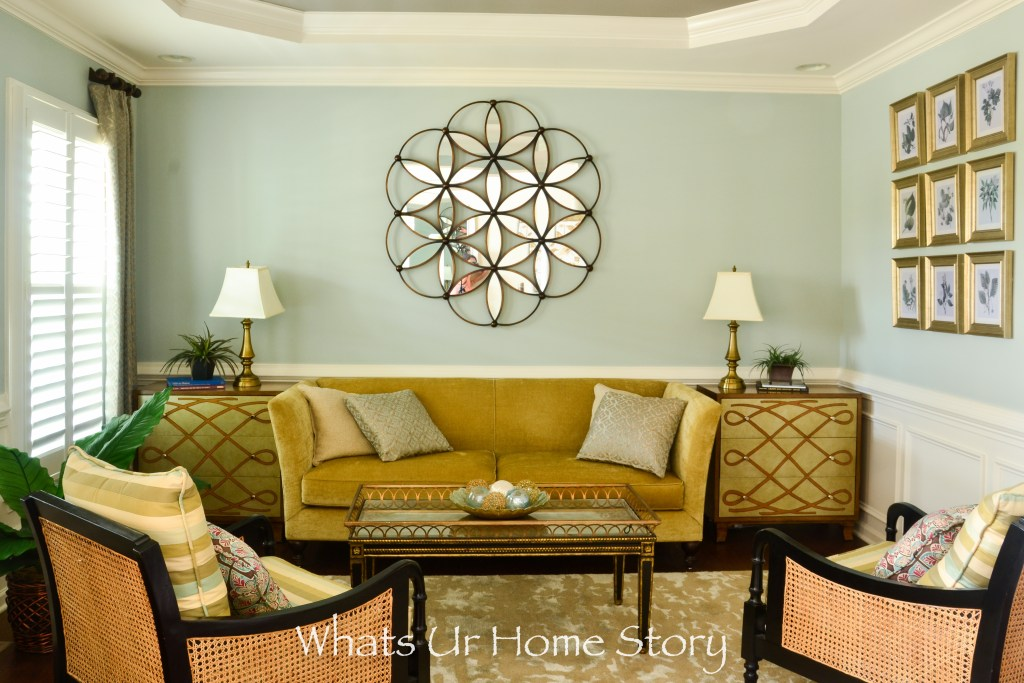 Eclectic living room with sea foam green wall color-neutral living room
