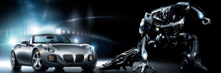 CeBIT 2012 brought to for the prospect of driverless cars bringing to mind Optimus Prime like this depiction of fast car and robot beast
