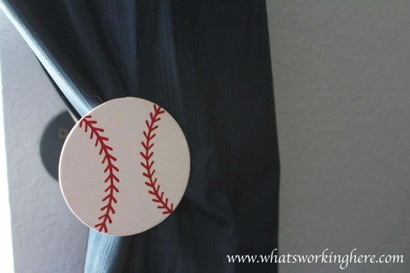 Baseball Curtain tie backs