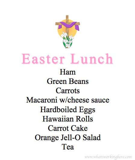 Easter Lunch Menu