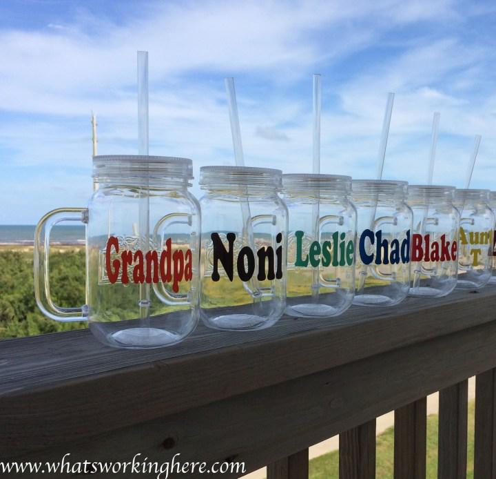 beach mason jars