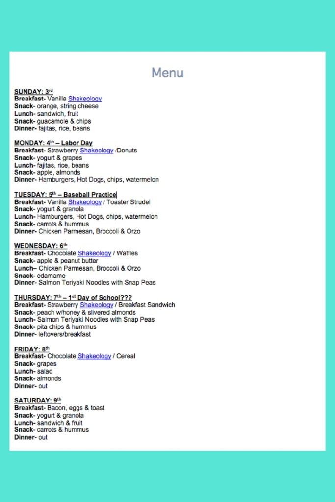 September 3rd Weekly Menu
