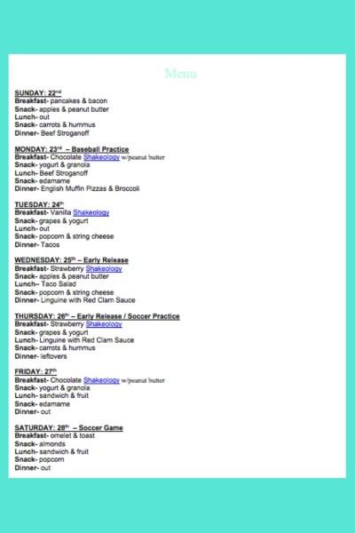 October 22nd  Weekly Menu