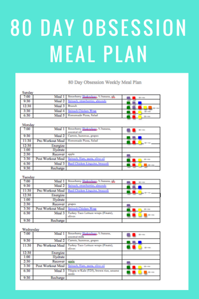 80 Day Obsession Meal Plan- May 13