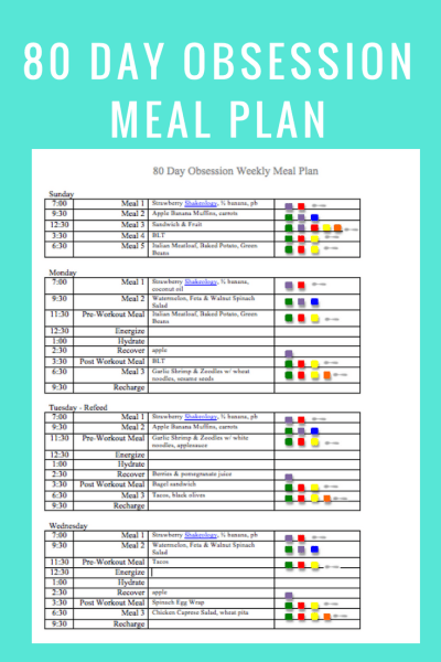 80 Day Obsession Meal Plan Summer snack recipe- May 20