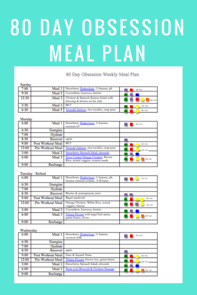 80 Day Obsession Meal Times- June 3