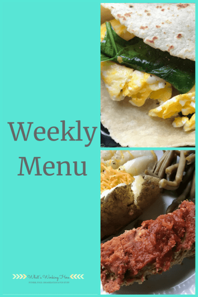 Aug 26th Weekly Menu - Pre-labor day slim down