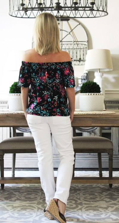 Stitch Fix Summer To Fall Styles Loveappella Callalily top cosmic blue love jean back