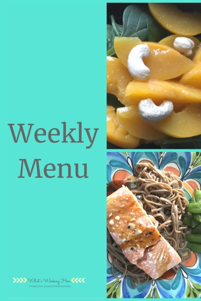 March 17 Weekly Menu - ultimate portion Fix, peach spinach salad with cashews, teriyaki salmon with soba noodles and snap peas
