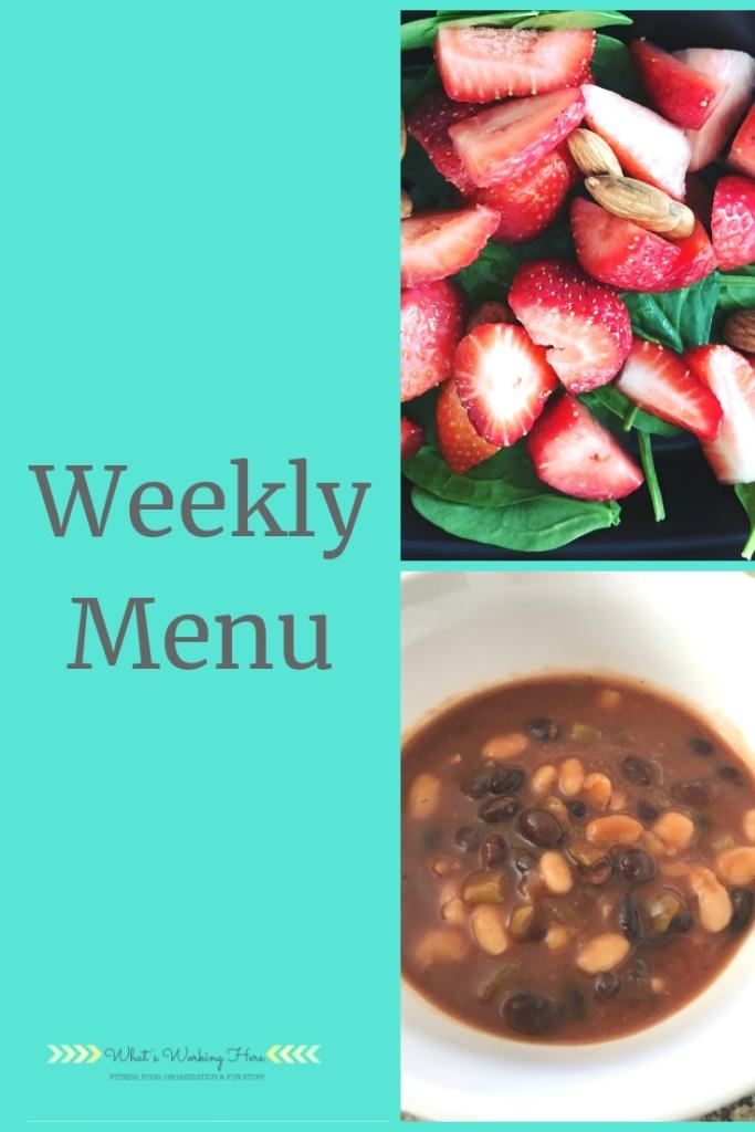 March 24 Weekly Menu - ultimate portion Fix vegan meal plan- stawberries & spinach, black & white bean chili