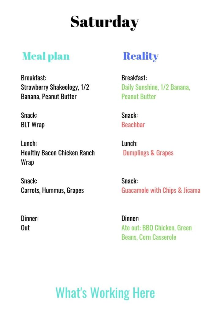 Meal Plan vs Reality Saturday