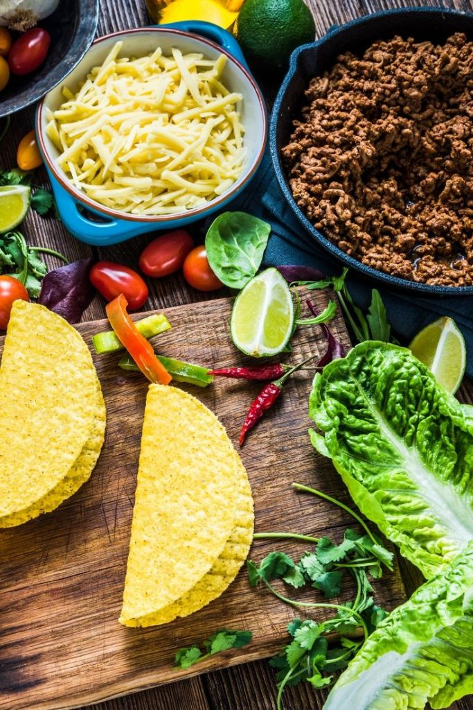 Meal Planning Mistakes- Not having ingredients- taco ingredients, beef, taco shells, shredded cheese, lettuce, tomatoes