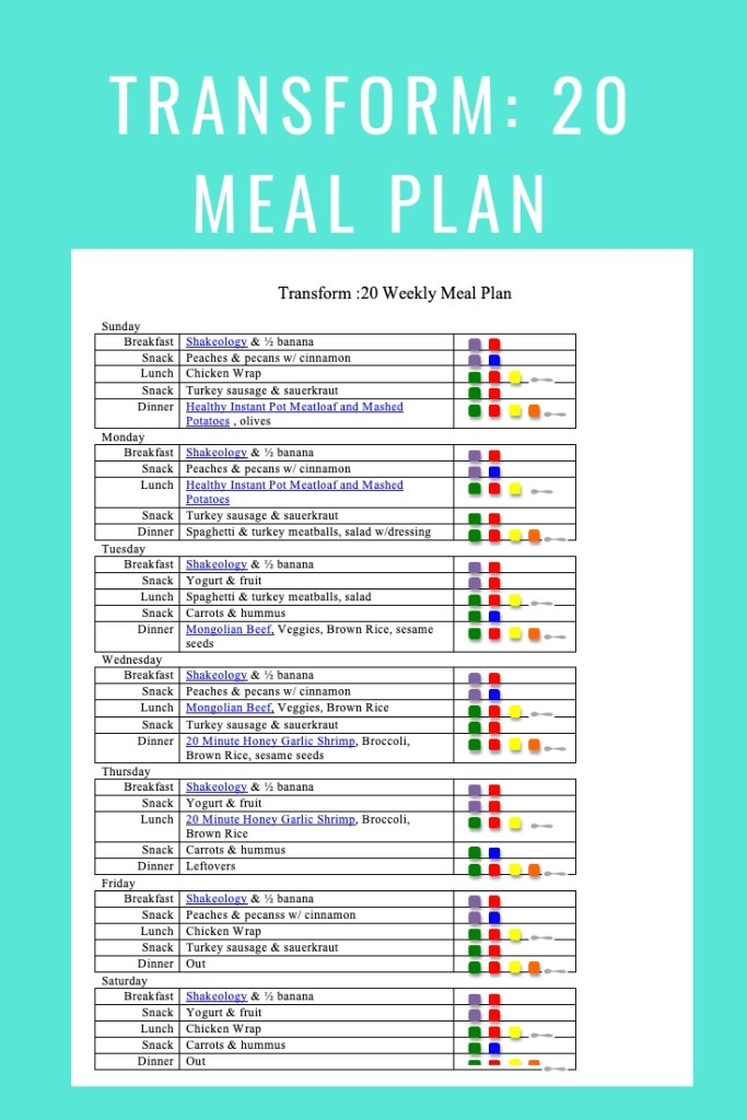 Transform 20 Meal Plan- Jan 20