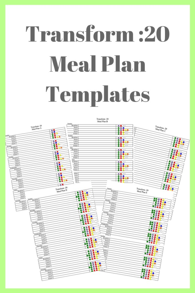 Transform :20 meal Plan Templates