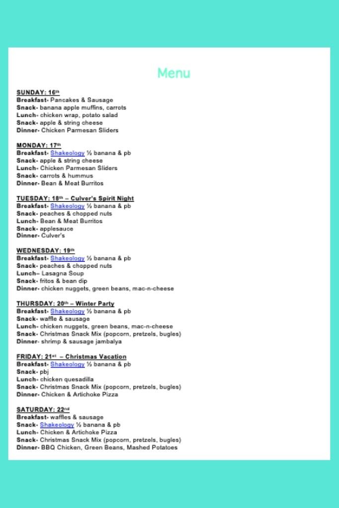 Weekly Menu- Dec 16