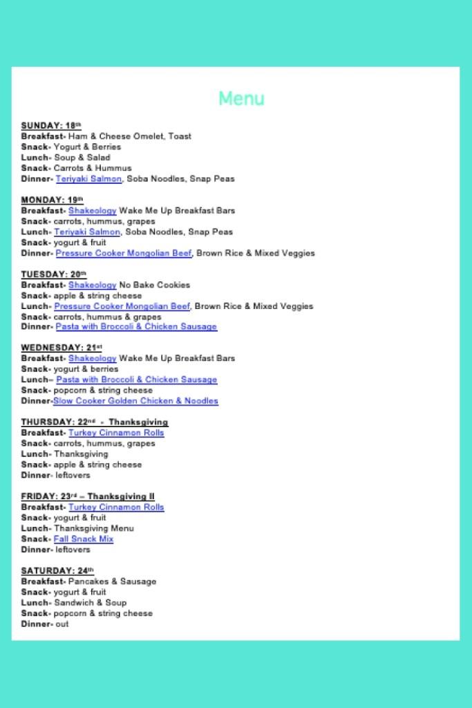 Weekly Menu- Nov 18