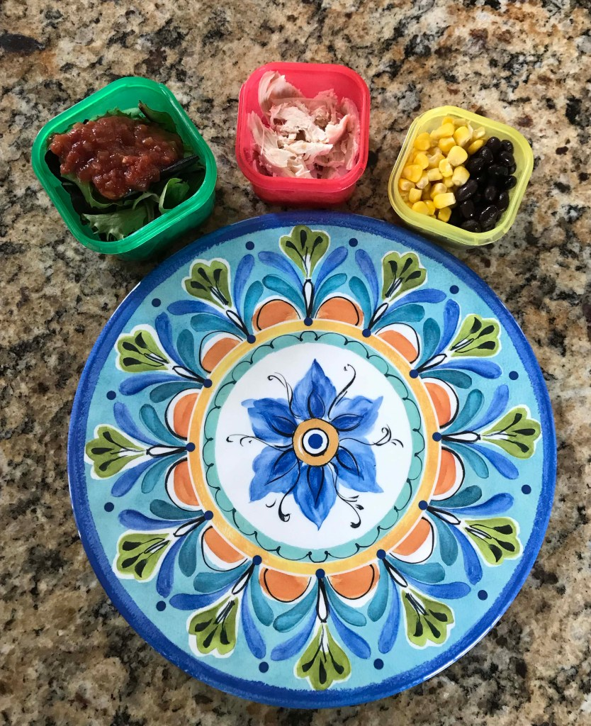healthy southwest chicken salad with containers (red, yellow, green, tsp)