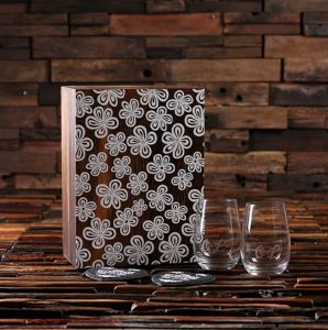 Personalized Glasses and Slate Coasters Gift Set