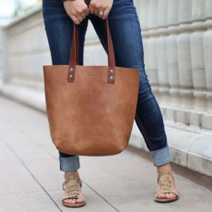 Personalized Brown Leather Tote Bag