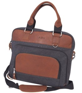 Personalized Wool and Leather Briefcase