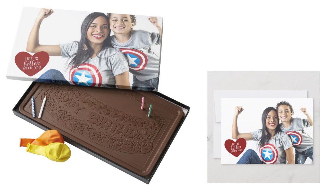 Happy Birthday Chocolate with card (mother and son)