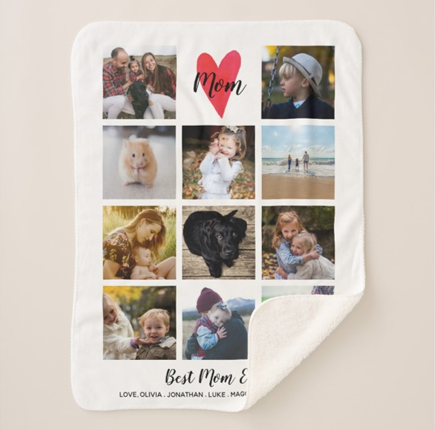 associate mom photo collage blanket