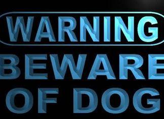 Warning - Beware of Dog neon sign LED