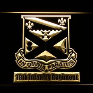 US Army 18th Infantry Regiment neon sign LED