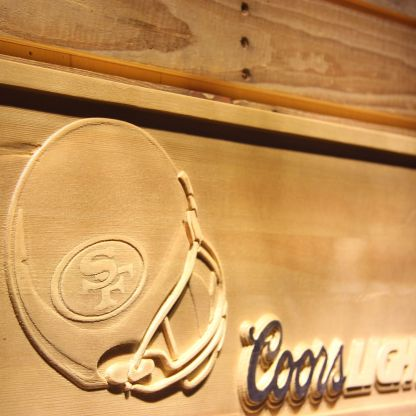 San Francisco 49ers Coors Light Helmet Wood Sign neon sign LED