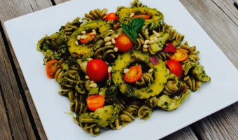 Roasted Delicata Squash With Cherry Tomato Pesto Rotini