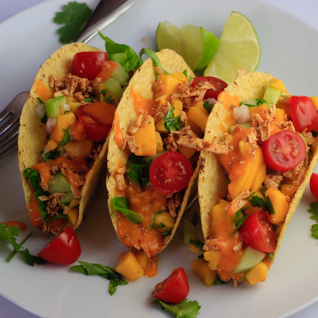 Tofu Tacos with Melted Chao Cayenne Cheese and Mango Salsa11