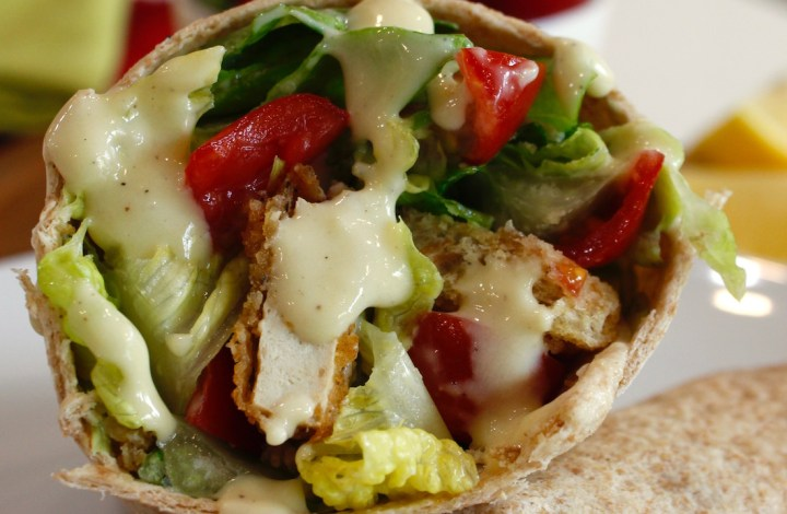 Vegan Chicken Caeser Salad Wraps
