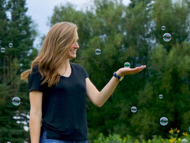 positivity - woman with bubbles