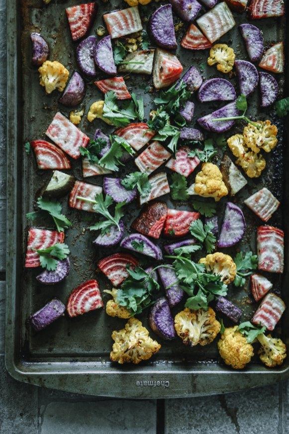 pan of roasted veggies potatoes for health