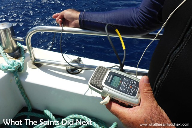 A hydrophone being used to listen to the underwater sounds.  Georgia Aquarium conducting whale shark research on St Helena.