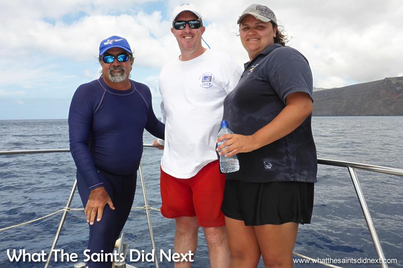 Raphael, Al and Elizabeth. Georgia Aquarium conducting whale shark research on St Helena