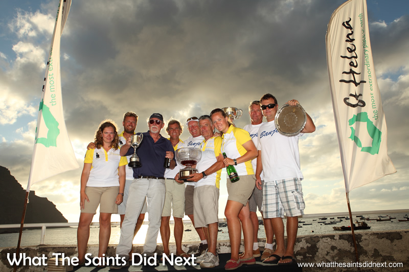 Governor's Cup Yacht Race winning crews of Banjo, Black Cat and Avanti.