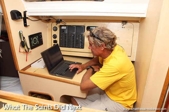 This is where Dave downloads weather and race data and checks navigation details.