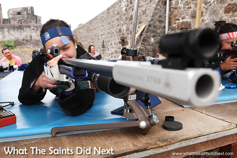 Jodie on the 50m range at High Knoll. Rifle Shooting On St Helena.