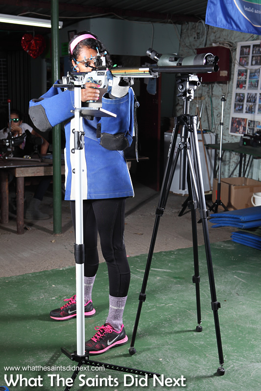 Madolyn in standing position for 3P. Training at the Jamestown 25yd range is done on weekday evenings. Rifle Shooting On St Helena.