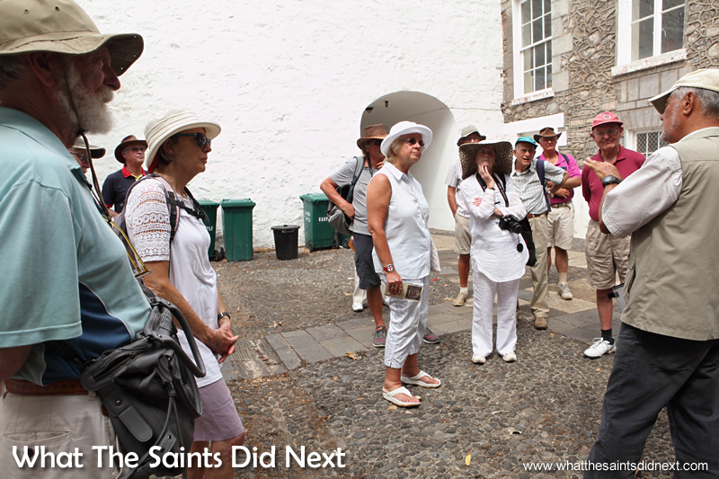 Inside the Castle courtyard. Tour of Historic Jamestown.