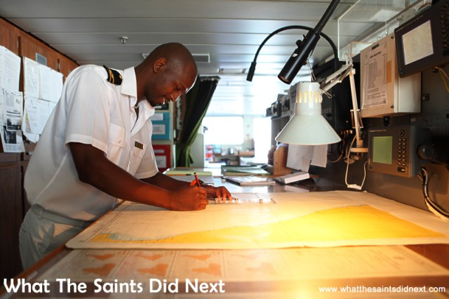 2nd Officer, Sivuyile Maliti checking the navigation on the bridge.