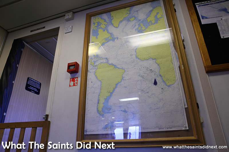 The ship's daily navigational position is also plotted on a map outside the sun lounge.