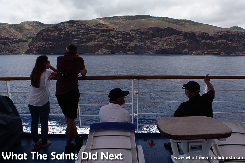A front seat view of the rugged St Helena coastline. Voyage on the RMS St Helena.