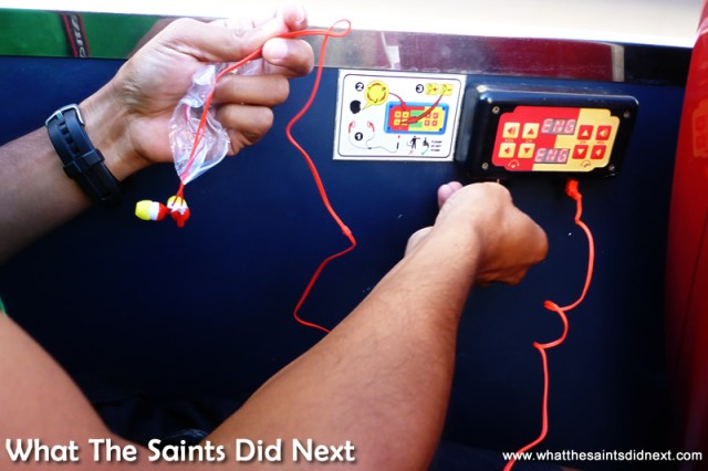 Complimentary headphones plug into the audio ports throughout the bus.  The Cape Town City Sightseeing tour.