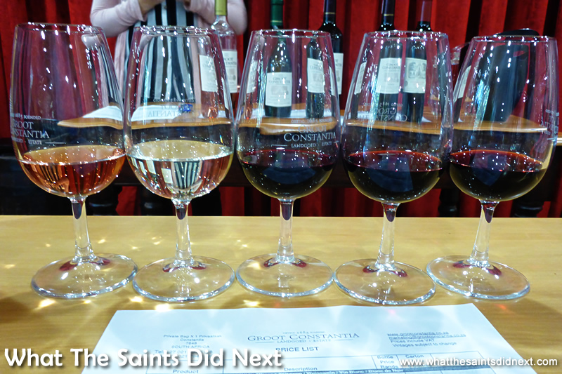 Groot Constantia wine tasting tours give five generous samples.