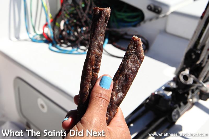 Droe Wors, the beef snack we used to combat the salt water taste from all the sea spray.