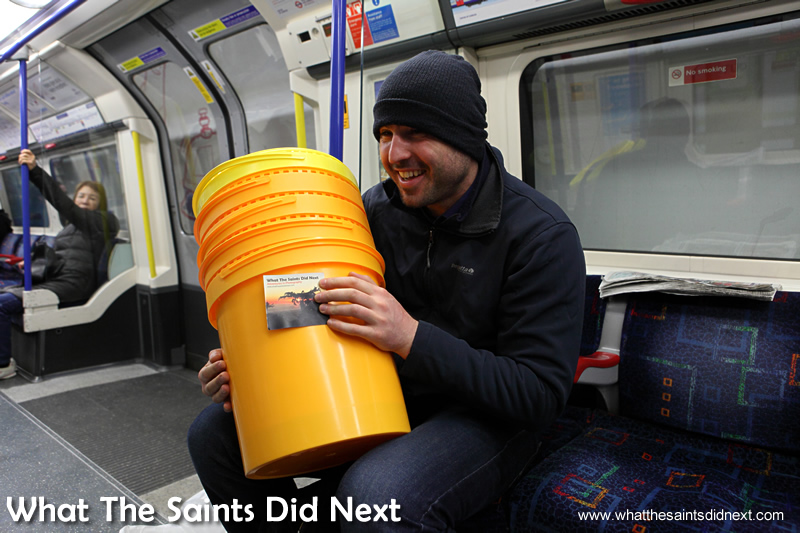 Dan shows me his buckets at our first meeting.  Homeless Bucket Drum Busker Living On The Streets Of London.
