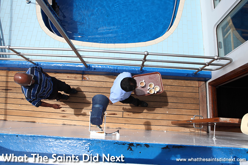Clearing the deck.  Photographs of the RMS St Helena.